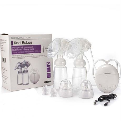 Real Bubee Single/Double Electric Breast Pump With Milk Bottle Infant USB BPA