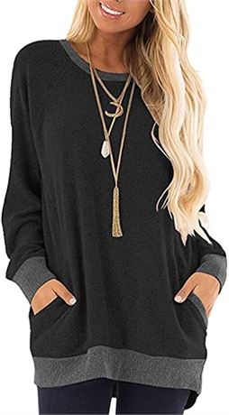 SZ:XL-Womens Stretchy Long Sleeve Shirt Round Neck Pocket Pullover Casual Tunic