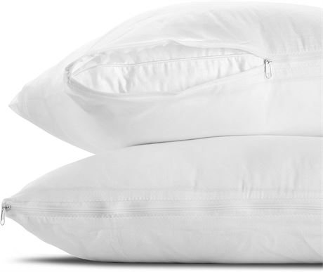 QUEEN-Mastertex Pillow Protectors Standard Zippered Cases 2-Pack   Poly Cotton