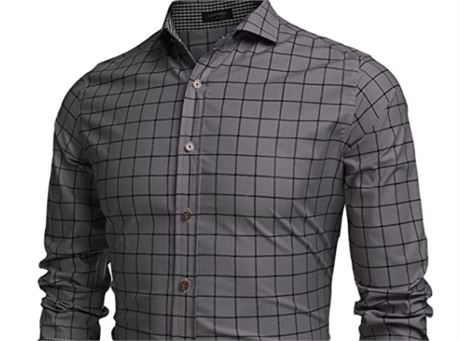 Coofandy Men's Long Sleeve Plaid Button Down Casual Shirts *Size L *