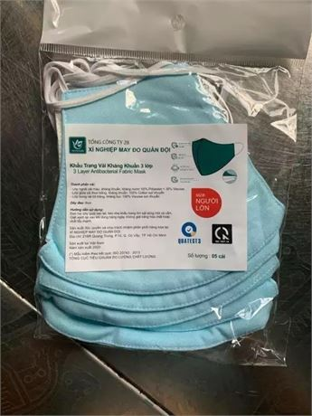 3 Layer Cotton Masks Reusable (pack of 5)