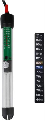 100 W Submersible Aquarium Heater HT-6100 with Thermometer for 20 Gallon Fish