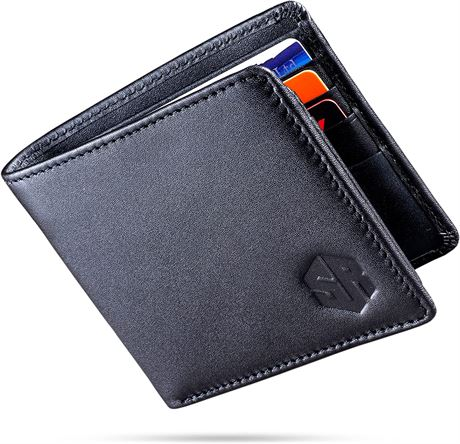 SKYREX Premium Leather Mens Wallet, RFID Blocking Ultra Strong Stitching Extra