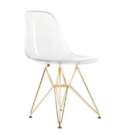 Plata Decor Eiffel Dining Chair - Clear and Gold Base