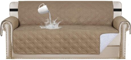 """Couch Sofa Slipcover Furniture Protector 100% Waterproof 75""""X112"""", TAUPE"""
