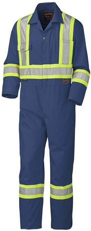 Tall Fit, Navy Blue, 54-Pioneer CSA Action Back High Visibility Work Coverall