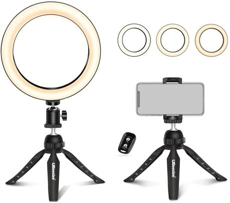 """UBeesize 8"""" Selfie Ring Light with Mini Tripod Stand & Cell Phone Holder"""