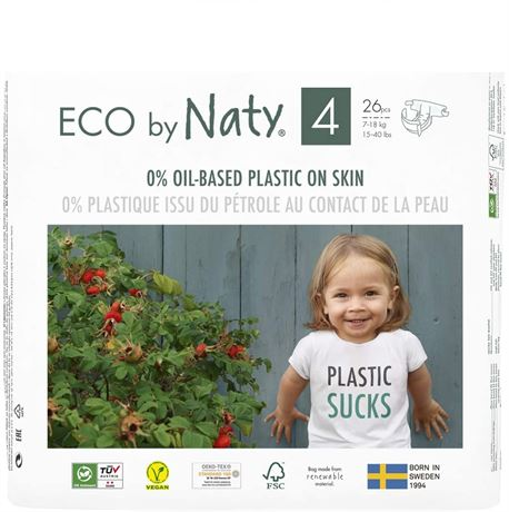 Eco by Naty Baby Diapers, Size 4, 26 Ct, Plant-based with 0% Oil Plastic