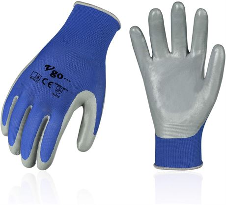 (Size M,Blue,NT2110) Vgo 10 Pairs Nitrile Coating Gardening and Work Gloves
