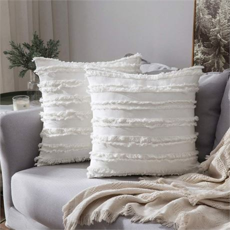 MIULEE Set of 2 Decorative Boho Throw Pillow Covers Striped