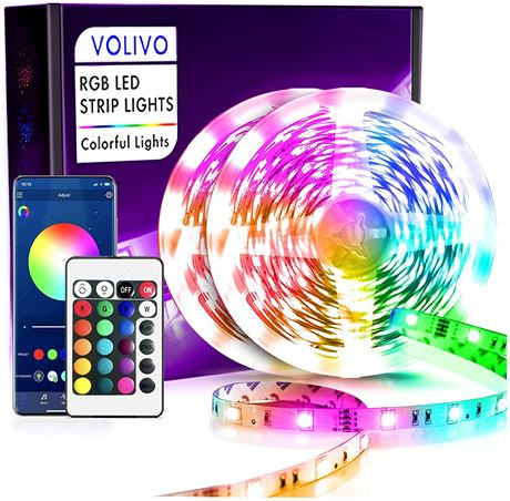 Volivo Smart Bluetooth Led Lights 50ft, App Controlled Music Sync Led Light