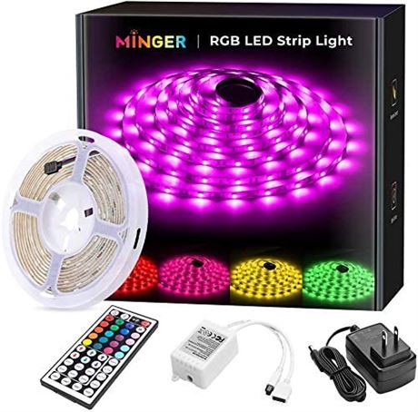 MINGER RGB LED Strip Lights with Remote Controller, 16.4ft Waterproof