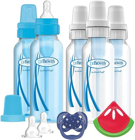Dr Brown's 8-Ouncez Standard 5-pack Bottles Boy Gift Set with Pacifier/Teether