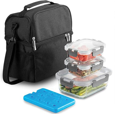 Insulated 2-Compartment Lunch Bag with Ice Pack & Glass Food Container Set,