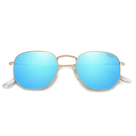 SOJOS Small Square Polarized Sunglasses for Men and Women Polygon Mirrored Lens