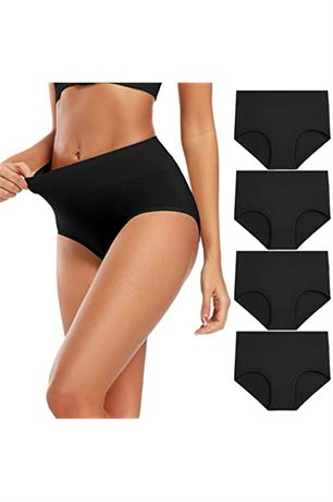 SZ:2XL-INNERSY Womens High Waisted Cotton Plus Size Ladies Panties 5-Pack