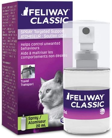 FELIWAY Spray 20 mL - Reassures Cats During Car Travel, Veterinary Visits & Help