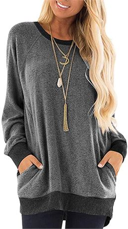 SZ:L-Womens Stretchy Long Sleeve Shirt Round Neck Pocket Pullover Casual Tunic