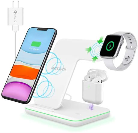 Intoval Wireless Charger, 3 in 1 Charger for iPhone/iWatch/Airpods, Qi-Certified