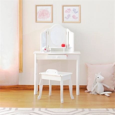GuideCraft Classic White Vanity and Stool-Has Marks and minor Crack
